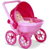 Mini Boneca - Micro Bebê Mania - Carrinho De Bebê - Pink Com Rosa - Roma Jensen