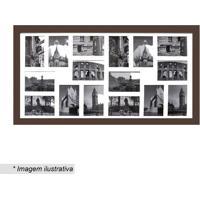 Painel Para 16 Fotos- Marrom & Branco- 45X85X2Cmkapos