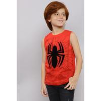 Regata Infantil Homem Aranha Gola Careca Vermelha