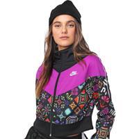 Jaqueta Cropped Nike Sportswear W Nsu Hypr Flr Trck Jkt Preta/Roxa