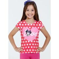 Blusa Infantil Manga Curta Bolinhas Minnie Disney
