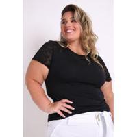 Blusa Kauê Plus Size Visco E Devorê Feminina - Feminino-Preto