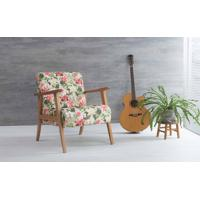 Poltrona Moderna Acacia Verniz Amendoa Tec.S1860 Floral 72X73X85 Cm