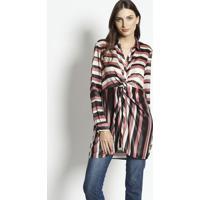 Camisa Alongada Com Torã§Ã£O- Vermelho Escuro & Bege Claroenna