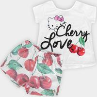 Conjunto Infantil Hello Kitty Cherry Love Feminino - Feminino-Branco