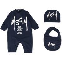 Msgm Kids Logo-Print 3-Piece Set - Azul