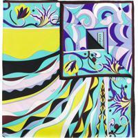 Emilio Pucci Lenço Com Mix De Estampas - Azul