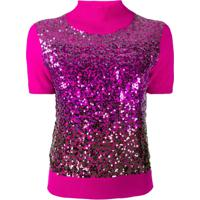 Pinko Blusa De Tricô Com Aplicação De Paetês - Rosa