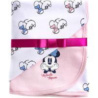Manta Estampada - 100% Algodão - Minnie Mouse - Branco - Disney