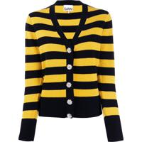 Ganni Cardigan Color Block - Preto