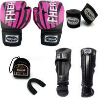 Kit Boxe Muay Thai Fheras Top - Luva Bandagem Bucal Caneleira - 14 Oz Elite Rosa