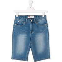 Levi'S Kids Bermuda Jeans Com Efeito Desbotado - Azul