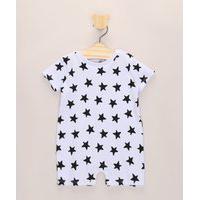 Macacão Infantil Estampado De Estrelas Manga Curta Branco