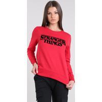 Blusão Feminino Stranger Things Em Moletom Vermelho