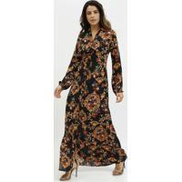 Vestido Longo Arabescos- Preto & Dourado- Milioremiliore