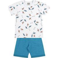 Conjunto De Camiseta Caiaque + Bermuda- Branco & Azul