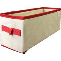 Caixa Organizadora Com Alça 14X15X38Cm Organibox Bege/Vermelho