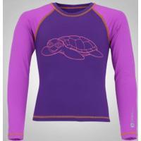 Camiseta Manga Longa Com Proteção Solar Uv Oxer Tartaruga - Infantil - Roxo/Roxo Cla