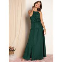 Vestido Verde De Alças Com Fendas