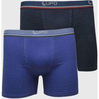 Kit 2Pçs Cuecas Lupo Boxer Elástico Azul