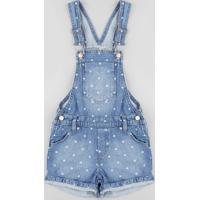 Jardineira Jeans Infantil Estampada De Poá Azul Médio