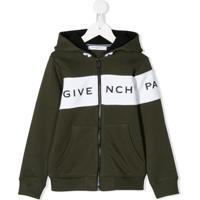 Givenchy Kids Logo-Band Hooded Jacket - Verde