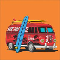 Placa Decorativa Kombi Surf Laranja