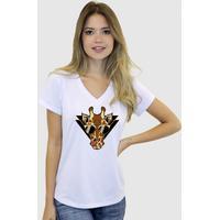 Camiseta Suffix Blusa Branca Basica Gola V Estampa Girafinha