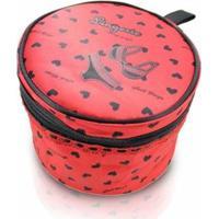 Necessaire Jacki Design Para Lingerie Tecido Coração - Feminino-Vermelho