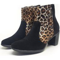 Bota Feminina Mary Animal Print E Preto.