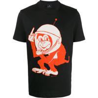 Ps Paul Smith Camiseta Decote Careca Space Monkey - Preto