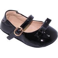Sapato Boneca Com Fivela & Laço - Preto- Luluzinhaluluzinha