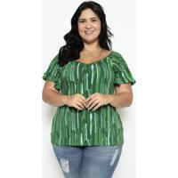 Blusa Abstrata - Verde Escuro & Verde Águamalwee