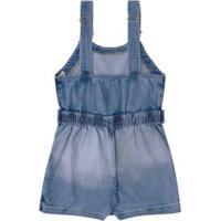 Jardineira Infantil Infanti Jeans Salopete Feminina - Feminino-Jeans