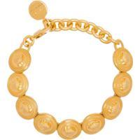 Versace Pulseira Com Medalhão Medusa - Dourado