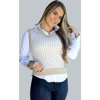 Colete Feminino Malhas G'Dom De Jackar Bege/Branco