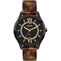 Relógio Couro Euro Glam Glitz Eco Bicolor Feminino - Feminino-Preto