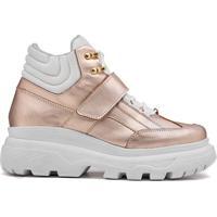 Sneaker Rock Fit York Plataforma Couro Rosê E Branco