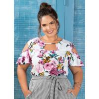 Blusa Com Recortes Plus Size Marguerite Floral