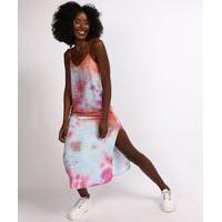 Vestido Feminino Mindset Longo Estampado Tie Dye Com Fenda Alças Finas Decote V Multicor