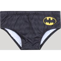 Sunga Infantil Slip Batman Estampada Preta