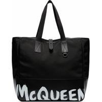 Alexander Mcqueen Bolsa Tote Shopping 35 Com Estampa De Logo - Preto