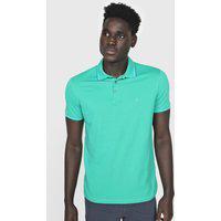 Camisa Polo Dudalina Reta Frisos Verde/Azul