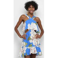 Vestido Farm Doce Flor - Feminino-Azul