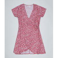 Vestido Juvenil Envelope Estampado Floral Manga Curta Vermelho