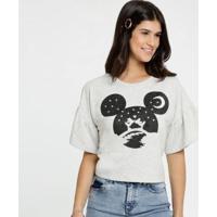 Blusa Estampa Mickey Manga Curta Sino Disney Feminina - Feminino-Bege