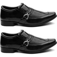 Kit 2 Pares Sapato Social Hshoes Verniz Conforto Macio Masculino - Masculino-Preto