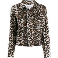 Ganni Jaqueta Jeans Com Estampa De Leopardo - Marrom