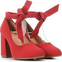 Scarpin Griffe Salto Alto Amarração - Feminino-Vermelho