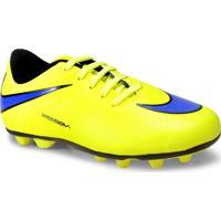 Chuteira Masc Infantil Nike 599073-758 Jr Hypervenom Phade Fg-R Amarelo Limao/Roxo